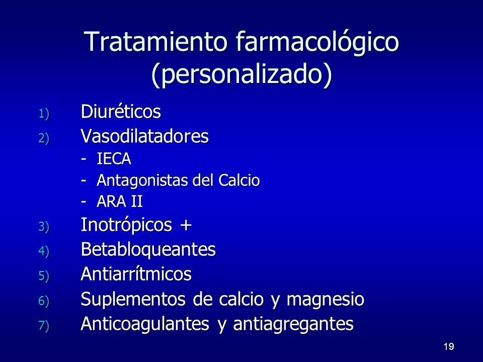 19 Tratamiento farmacológico (personalizado) 1) Diuréticos 2) Vasodilatadores - IECA - Antagonistas del Calcio - ARA II 3) Inotrópicos + 4) Betabloque