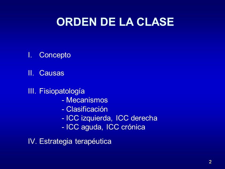 2 ORDEN DE LA CLASE I.Concepto II.Causas III.Fisiopatología - Mecanismos - Clasificación - ICC izquierda, ICC derecha - ICC aguda, ICC crónica IV.Estr