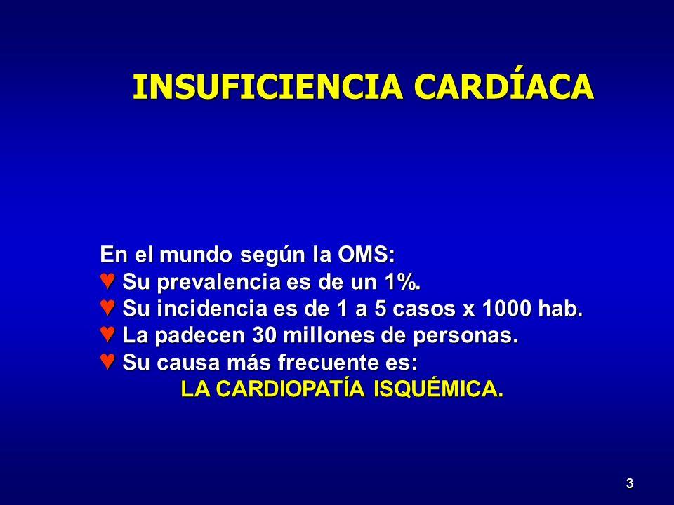 4 Incapacidad cardíaca para suplir demandas metabólicas en el ejercicio o reposo CAUSAS: CAUSAS: N°1: Aterosclerosis N°1: Aterosclerosis Insuficiencia valvular Insuficiencia valvular Estimulación metabólica constante ***** Estimulación metabólica constante ***** Sobrecargas impuestas: Sobrecargas impuestas: HTA pulmonar HTA pulmonar HTA HTA Miocardiopatías Miocardiopatías Exposición tóxica Exposición tóxica Fístulas AV Fístulas AV