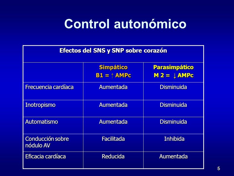 5 Control autonómico Efectos del SNS y SNP sobre corazón Simpático B1 = AMPc Parasimpático M 2 = AMPc Frecuencia cardíaca AumentadaDisminuida Inotropi