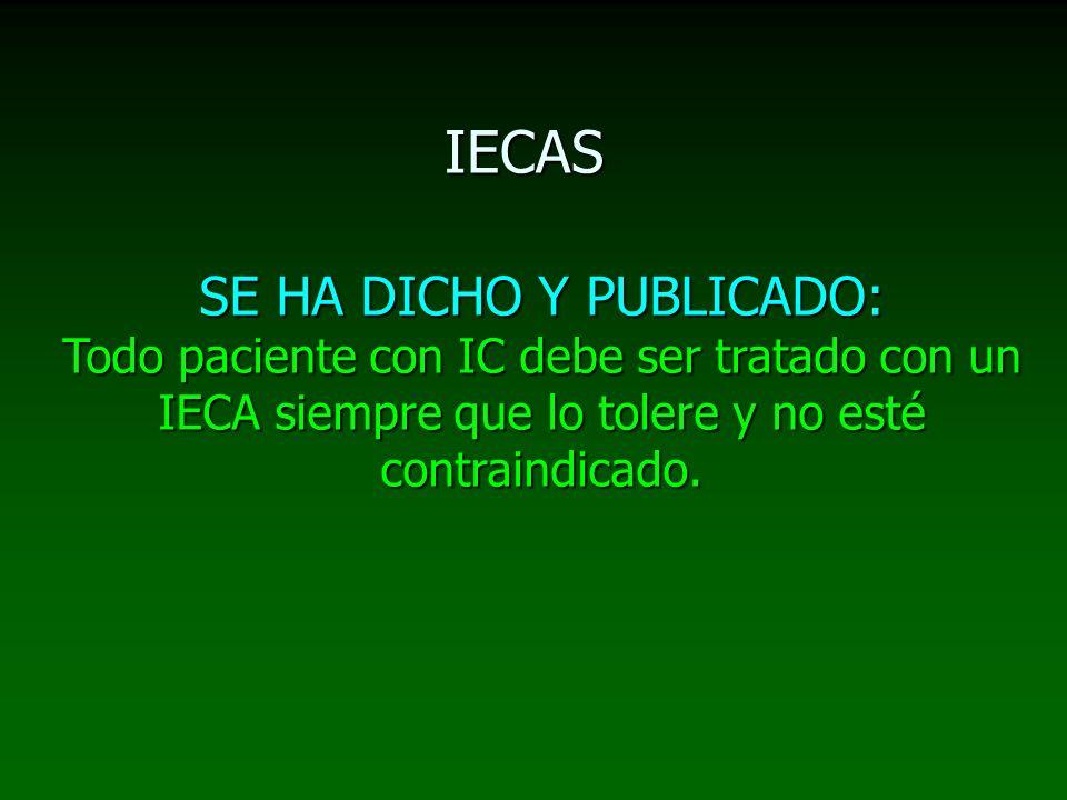IECAS SE HA DICHO Y PUBLICADO: Todo paciente con IC debe ser tratado con un IECA siempre que lo tolere y no esté contraindicado.