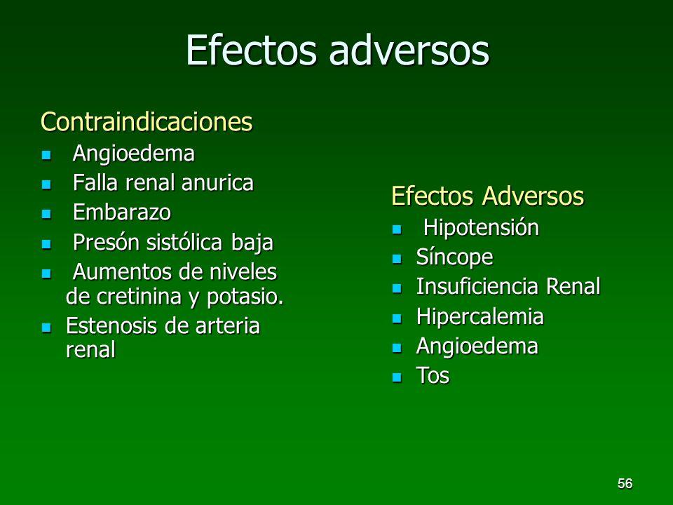 56 Contraindicaciones Angioedema Angioedema Falla renal anurica Falla renal anurica Embarazo Embarazo Presón sistólica baja Presón sistólica baja Aume