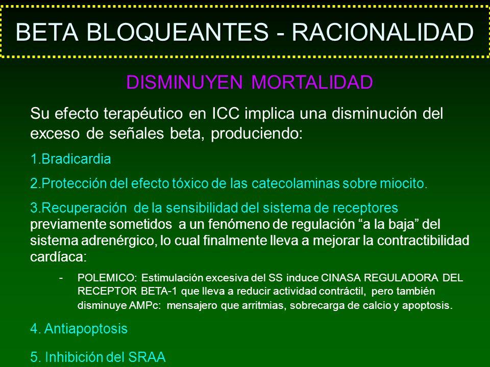 BETA BLOQUEANTES - RACIONALIDAD DISMINUYEN MORTALIDAD Su efecto terapéutico en ICC implica una disminución del exceso de señales beta, produciendo: 1.