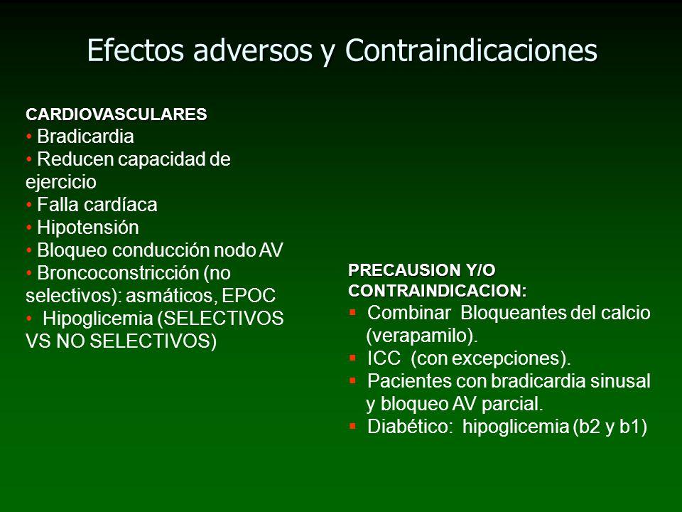 Efectos adversos y Contraindicaciones CARDIOVASCULARES Bradicardia Reducen capacidad de ejercicio Falla cardíaca Hipotensión Bloqueo conducción nodo A