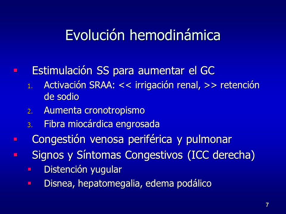 7 Evolución hemodinámica Estimulación SS para aumentar el GC Estimulación SS para aumentar el GC 1. Activación SRAA: > retención de sodio 2. Aumenta c