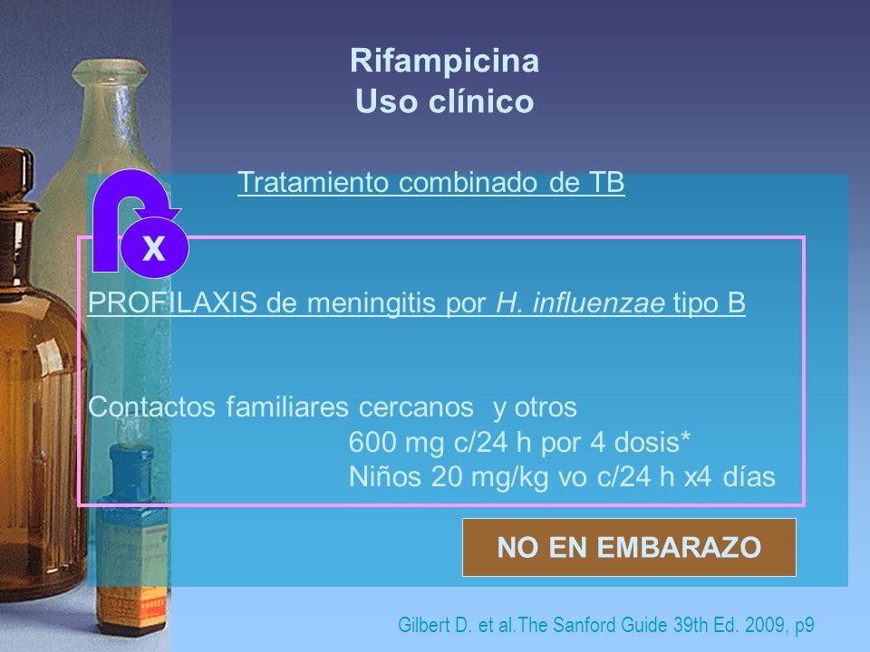 Rifampicina Uso clínico Tratamiento combinado de TB PROFILAXIS de meningitis por H. influenzae tipo B Contactos familiares cercanos y otros 600 mg c/2