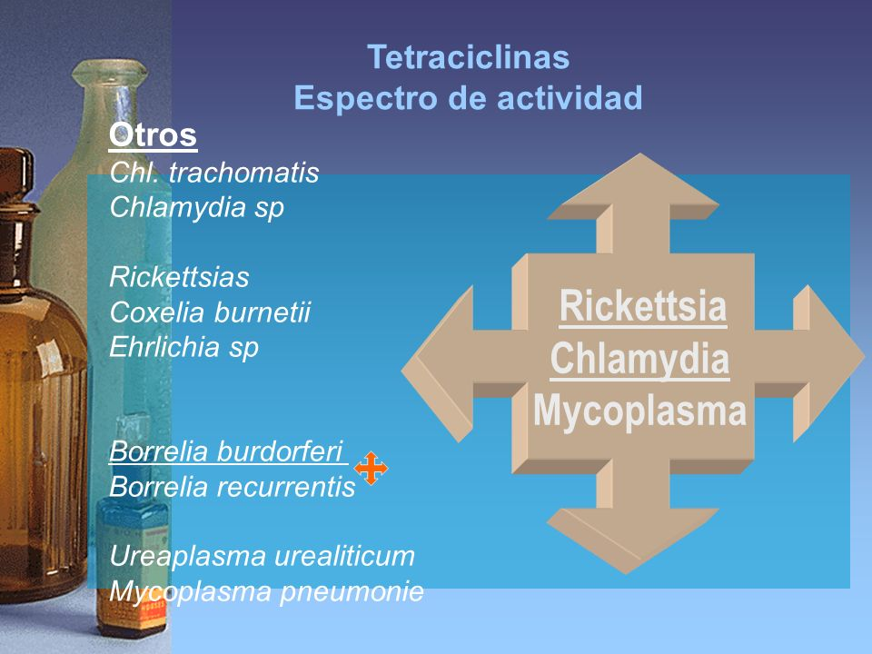 Tetraciclinas Espectro de actividad Otros Chl. trachomatis Chlamydia sp Rickettsias Coxelia burnetii Ehrlichia sp Borrelia burdorferi Borrelia recurre