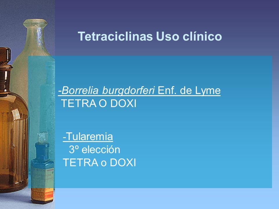-Borrelia burgdorferi Enf. de Lyme TETRA O DOXI - Tularemia 3º elección TETRA o DOXI Tetraciclinas Uso clínico