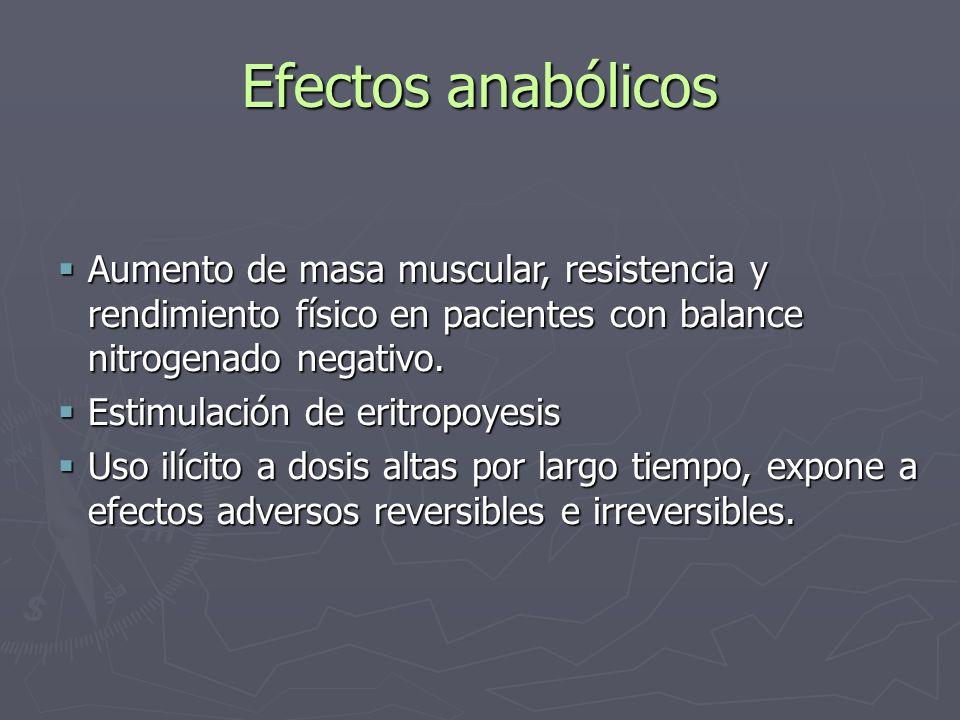 Efectos anabólicos Aumento de masa muscular, resistencia y rendimiento físico en pacientes con balance nitrogenado negativo. Aumento de masa muscular,