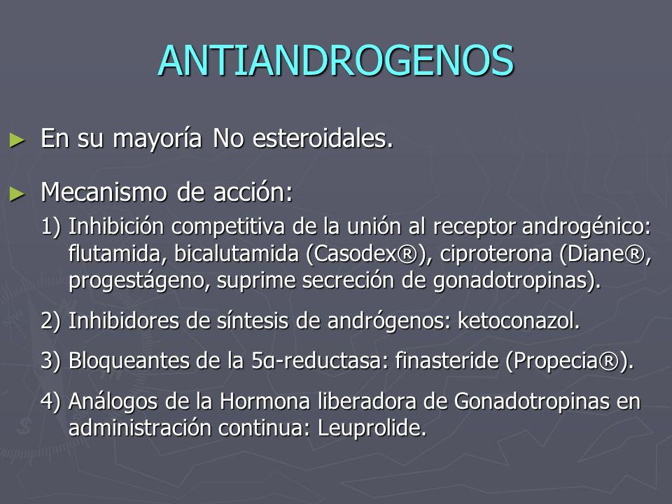 ANTIANDROGENOS En su mayoría No esteroidales. En su mayoría No esteroidales. Mecanismo de acción: Mecanismo de acción: 1)Inhibición competitiva de la