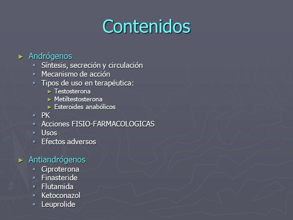 Contenidos Andrógenos Andrógenos Síntesis, secreción y circulación Síntesis, secreción y circulación Mecanismo de acción Mecanismo de acción Tipos de