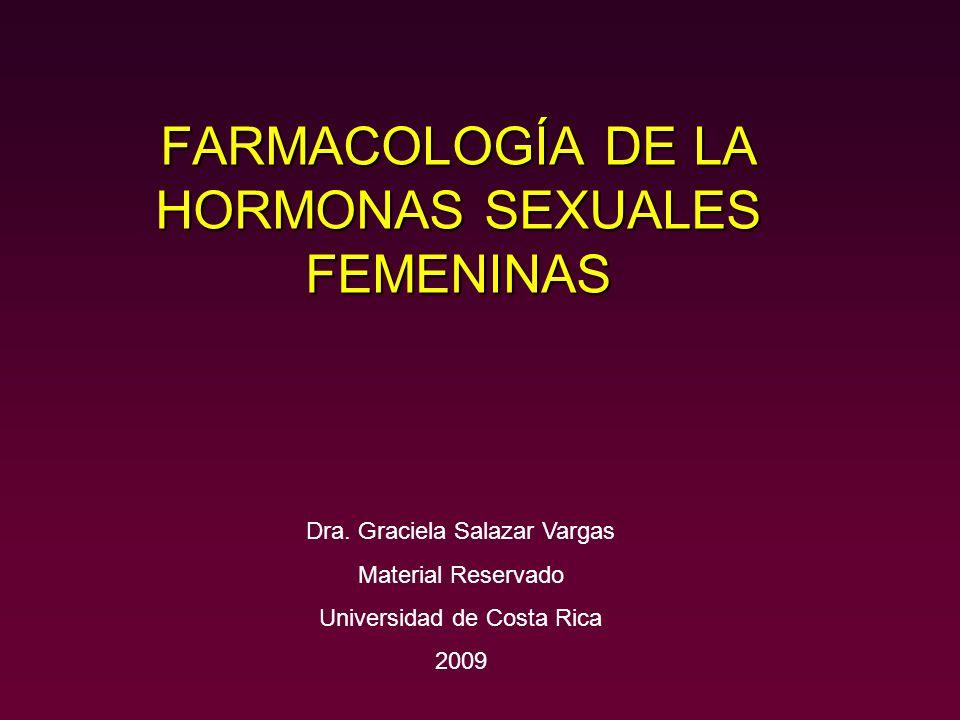 FARMACOLOGÍA DE LA HORMONAS SEXUALES FEMENINAS Dra. Graciela Salazar Vargas Material Reservado Universidad de Costa Rica 2009
