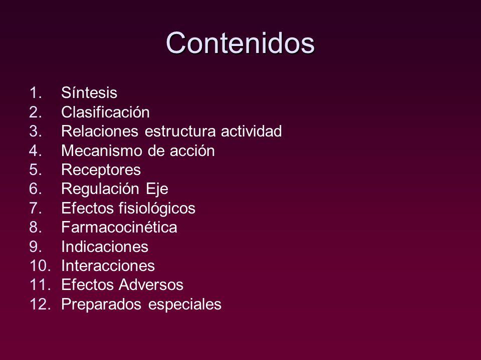 Contenidos 1.Síntesis 2.Clasificación 3.Relaciones estructura actividad 4.Mecanismo de acción 5.Receptores 6.Regulación Eje 7.Efectos fisiológicos 8.F