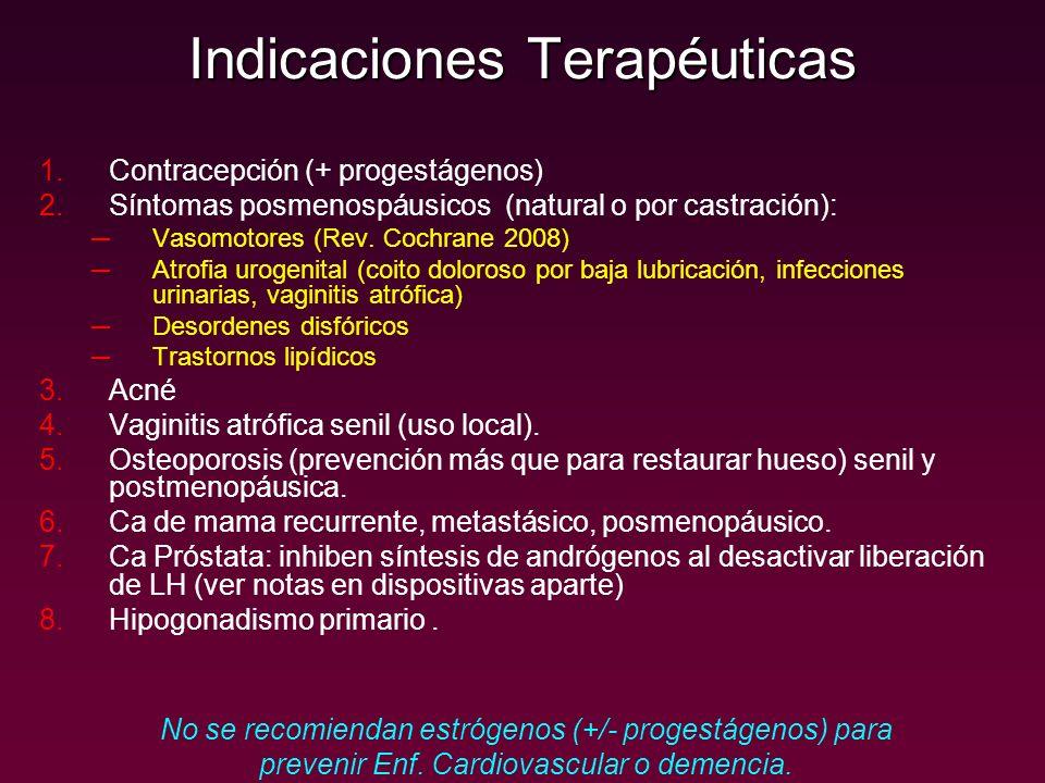 Indicaciones Terapéuticas 1.Contracepción (+ progestágenos) 2.Síntomas posmenospáusicos (natural o por castración): Vasomotores (Rev. Cochrane 2008) A
