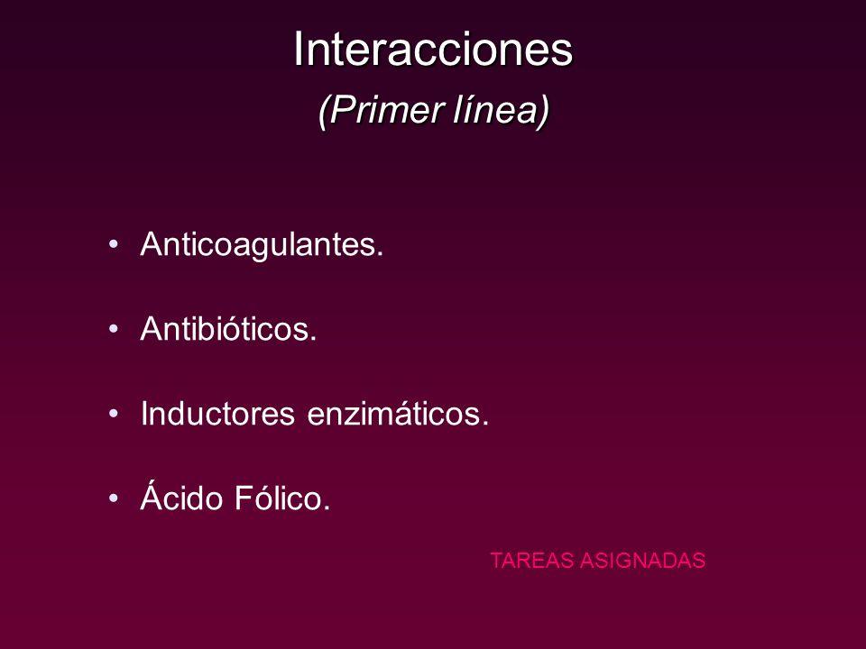 Interacciones (Primer línea) Anticoagulantes. Antibióticos. Inductores enzimáticos. Ácido Fólico. TAREAS ASIGNADAS