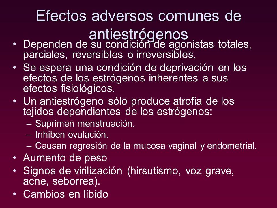 Efectos adversos comunes de antiestrógenos Dependen de su condición de agonistas totales, parciales, reversibles o irreversibles. Se espera una condic