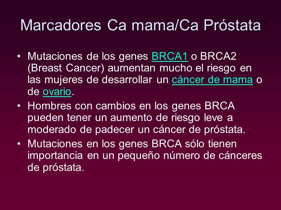 Marcadores Ca mama/Ca Próstata Mutaciones de los genes BRCA1 o BRCA2 (Breast Cancer) aumentan mucho el riesgo en las mujeres de desarrollar un cáncer