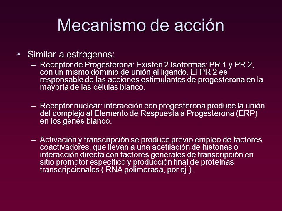 Mecanismo de acción Similar a estrógenos: –Receptor de Progesterona: Existen 2 Isoformas: PR 1 y PR 2, con un mismo dominio de unión al ligando. El PR