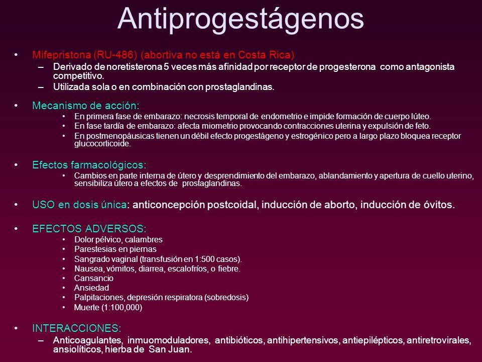 Antiprogestágenos Mifepristona (RU-486) (abortiva no está en Costa Rica) –Derivado de noretisterona 5 veces más afinidad por receptor de progesterona