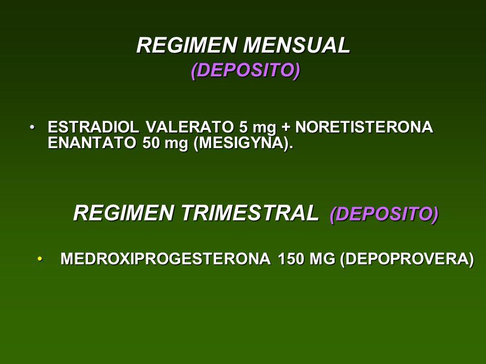 REGIMEN MENSUAL (DEPOSITO) ESTRADIOL VALERATO 5 mg + NORETISTERONA ENANTATO 50 mg (MESIGYNA).ESTRADIOL VALERATO 5 mg + NORETISTERONA ENANTATO 50 mg (M