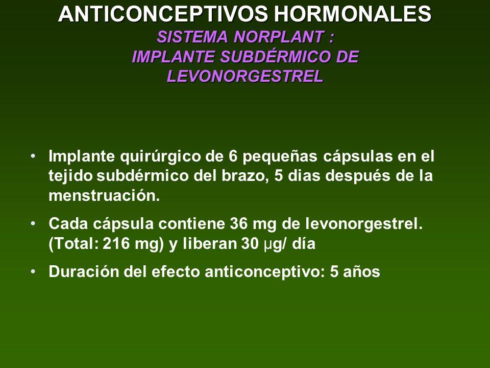 ANTICONCEPTIVOS HORMONALES SISTEMA NORPLANT : IMPLANTE SUBDÉRMICO DE LEVONORGESTREL Implante quirúrgico de 6 pequeñas cápsulas en el tejido subdérmico