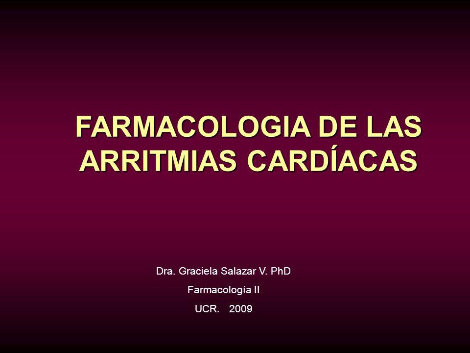 FARMACOLOGIA DE LAS ARRITMIAS CARDÍACAS Dra. Graciela Salazar V. PhD Farmacología II UCR. 2009