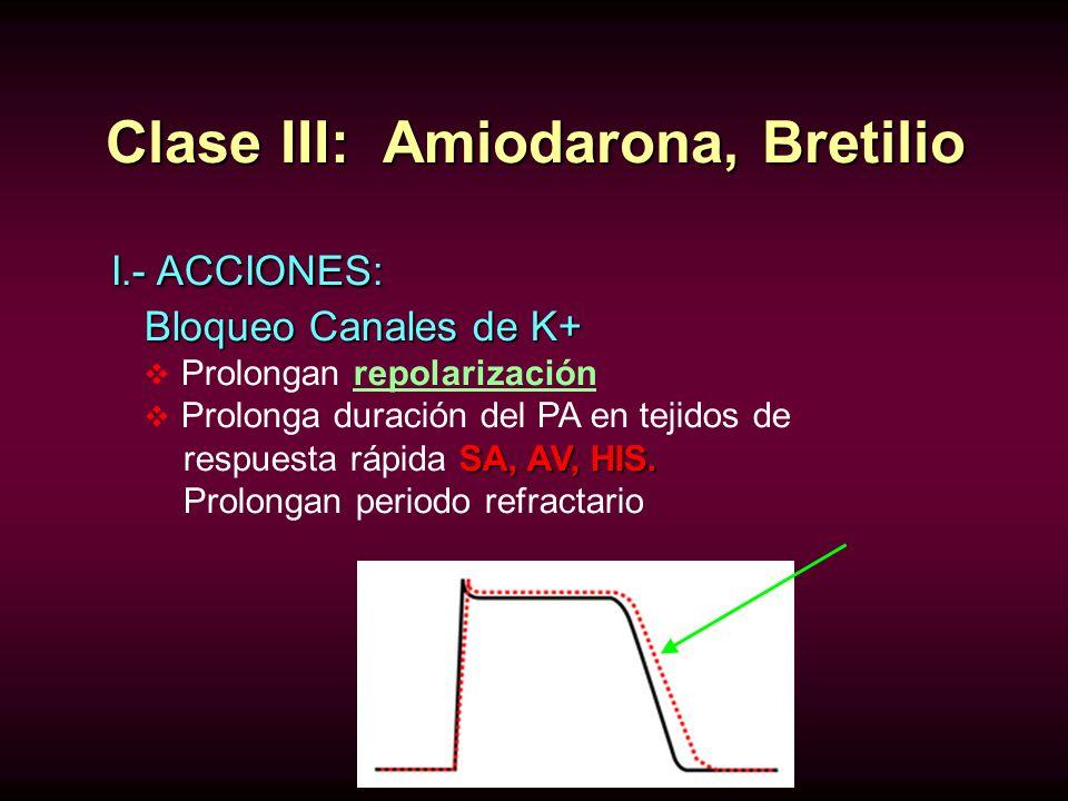 Clase III: Amiodarona, Bretilio I.- ACCIONES: I.- ACCIONES: Bloqueo Canales de K+ Prolongan repolarización Prolonga duración del PA en tejidos de SA,