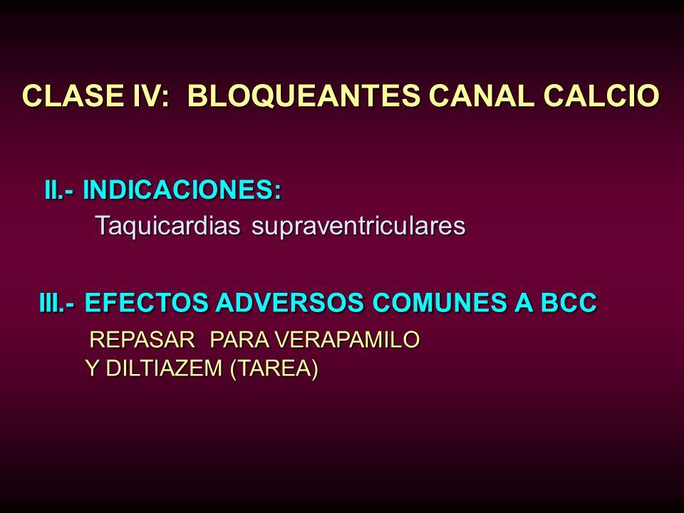 CLASE IV: BLOQUEANTES CANAL CALCIO II.- INDICACIONES: II.- INDICACIONES: Taquicardias supraventriculares Taquicardias supraventriculares III.- EFECTOS