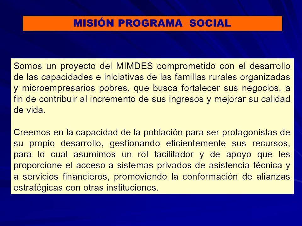 Somos un proyecto del MIMDES comprometido con el desarrollo de las capacidades e iniciativas de las familias rurales organizadas y microempresarios pobres, que busca fortalecer sus negocios, a fin de contribuir al incremento de sus ingresos y mejorar su calidad de vida.