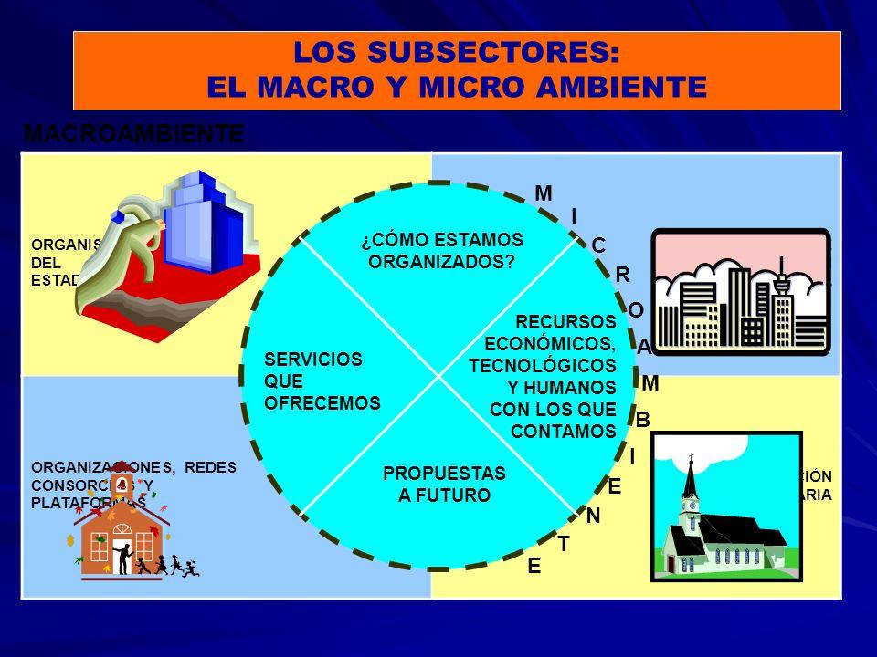 LOS SUBSECTORES: EL MACRO Y MICRO AMBIENTE ORGANISMOS DEL ESTADO ENTIDADES DE COOPERACIÓN INTERNACIONAL ORGANIZACIONES, REDES CONSORCIOS Y PLATAFORMAS POBLACIÓN DESTINATARIA MACROAMBIENTE SERVICIOS QUE OFRECEMOS RECURSOS ECONÓMICOS, TECNOLÓGICOS Y HUMANOS CON LOS QUE CONTAMOS ¿CÓMO ESTAMOS ORGANIZADOS.