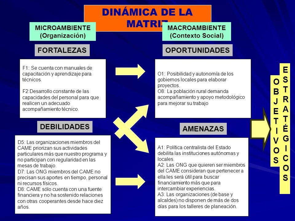 DINÁMICA DE LA MATRIZ MICROAMBIENTE (Organización) MACROAMBIENTE (Contexto Social) FORTALEZASOPORTUNIDADES AMENAZAS DEBILIDADES F1: Se cuenta con manuales de capacitación y aprendizaje para técnicos.