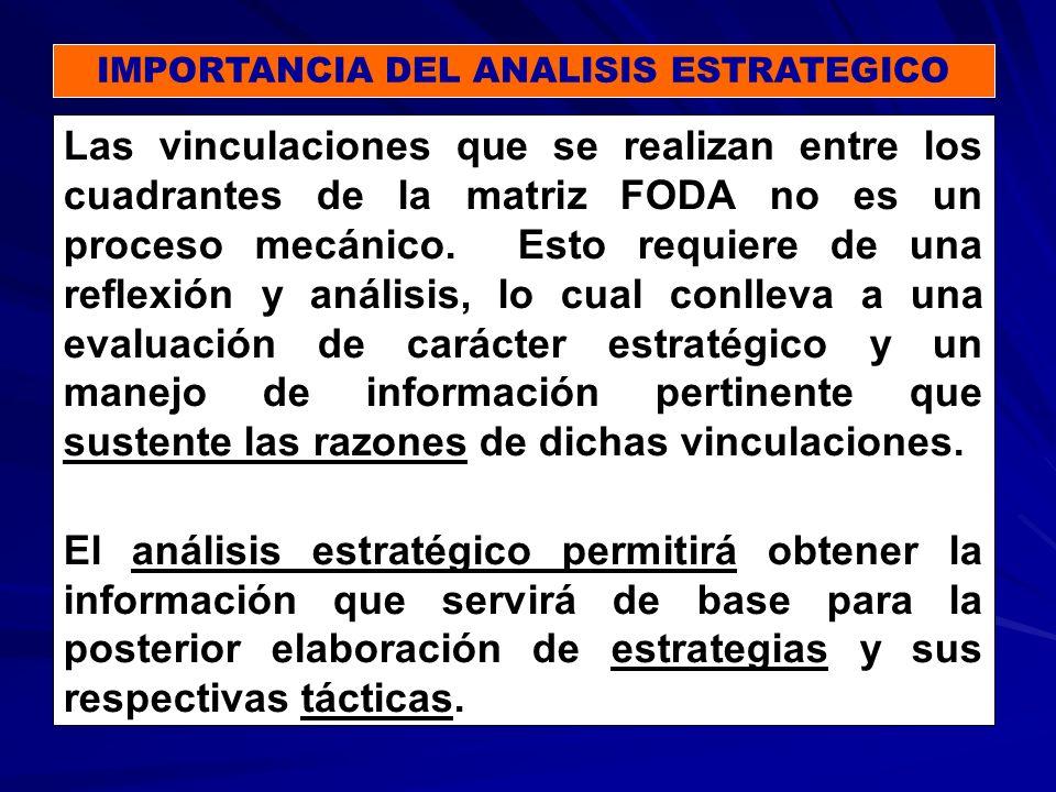 IMPORTANCIA DEL ANALISIS ESTRATEGICO Las vinculaciones que se realizan entre los cuadrantes de la matriz FODA no es un proceso mecánico.
