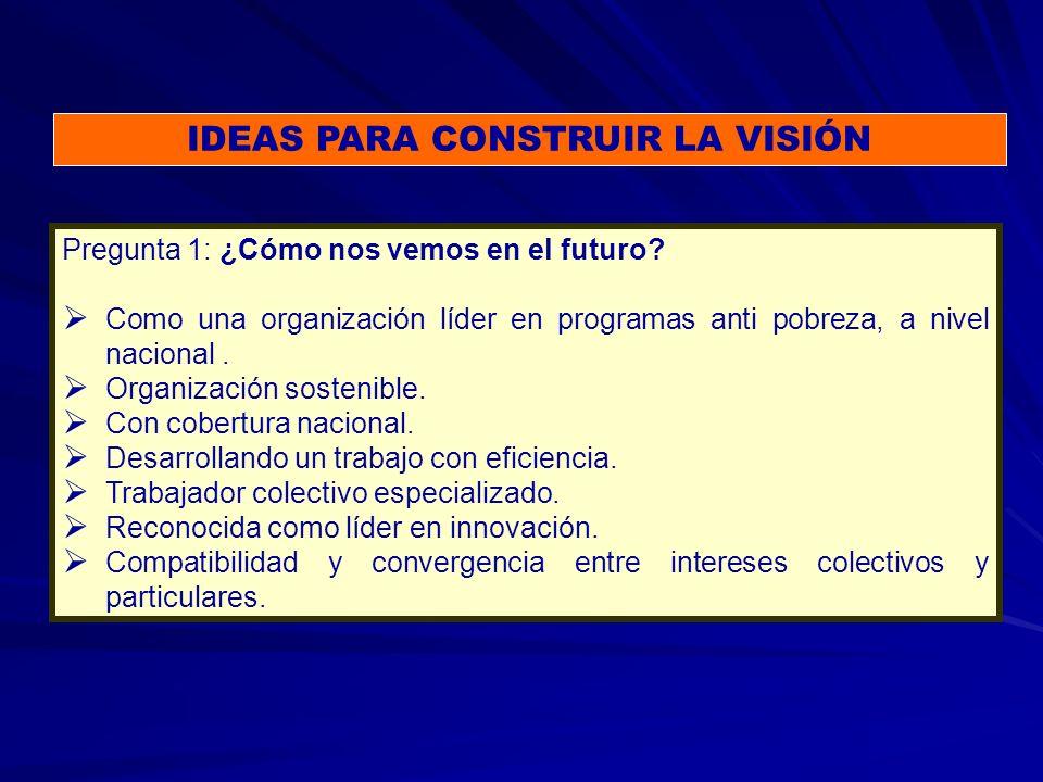 IDEAS PARA CONSTRUIR LA VISIÓN Pregunta 1: ¿Cómo nos vemos en el futuro.