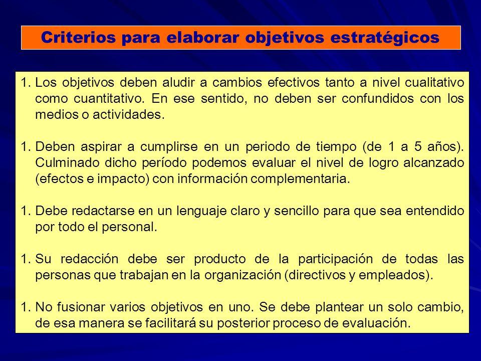 Criterios para elaborar objetivos estratégicos 1.Los objetivos deben aludir a cambios efectivos tanto a nivel cualitativo como cuantitativo.