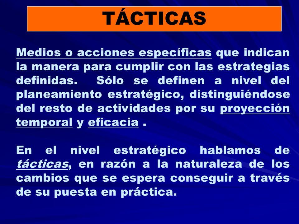 TÁCTICAS Medios o acciones específicas que indican la manera para cumplir con las estrategias definidas.