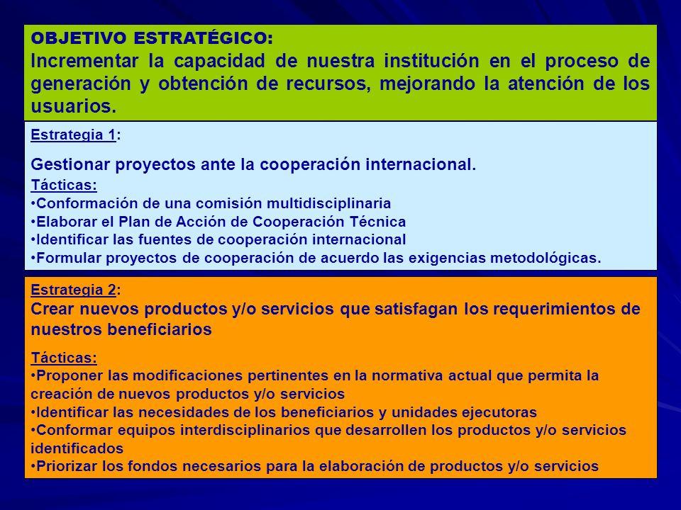 OBJETIVO ESTRATÉGICO: Incrementar la capacidad de nuestra institución en el proceso de generación y obtención de recursos, mejorando la atención de los usuarios.