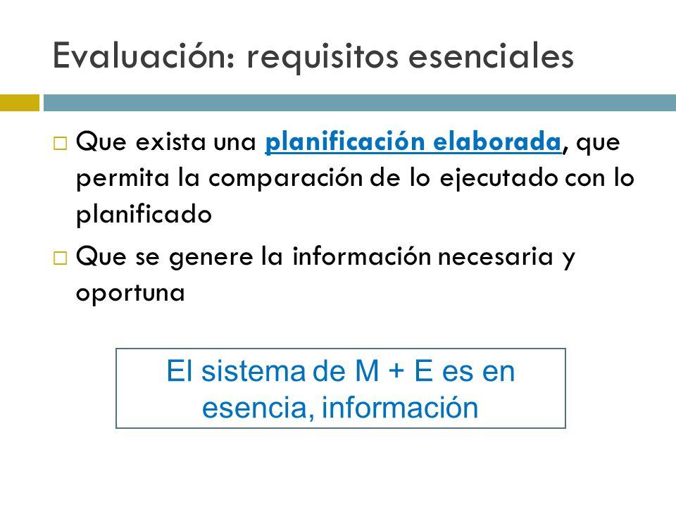 Evaluación: requisitos esenciales Que exista una planificación elaborada, que permita la comparación de lo ejecutado con lo planificado Que se genere la información necesaria y oportuna El sistema de M + E es en esencia, información