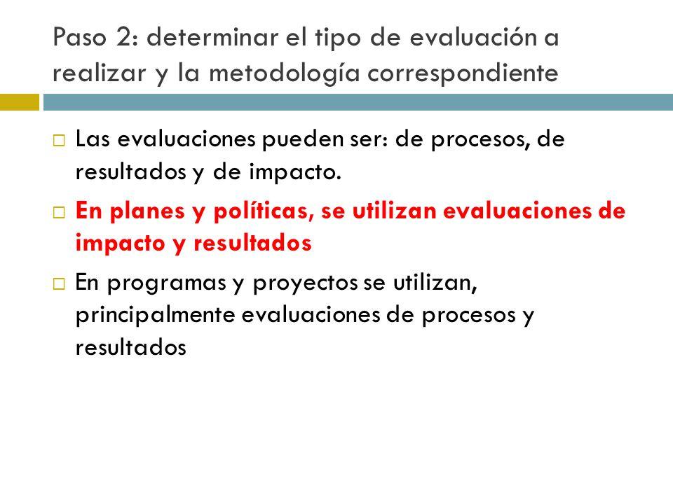 Paso 2: determinar el tipo de evaluación a realizar y la metodología correspondiente Las evaluaciones pueden ser: de procesos, de resultados y de impacto.