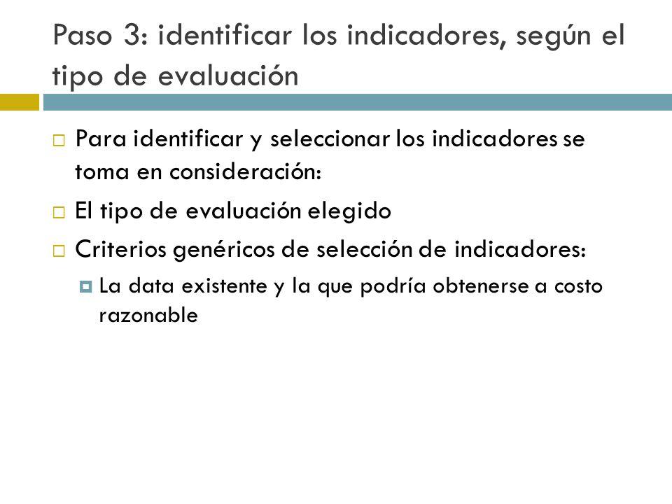 Paso 3: identificar los indicadores, según el tipo de evaluación Para identificar y seleccionar los indicadores se toma en consideración: El tipo de evaluación elegido Criterios genéricos de selección de indicadores: La data existente y la que podría obtenerse a costo razonable