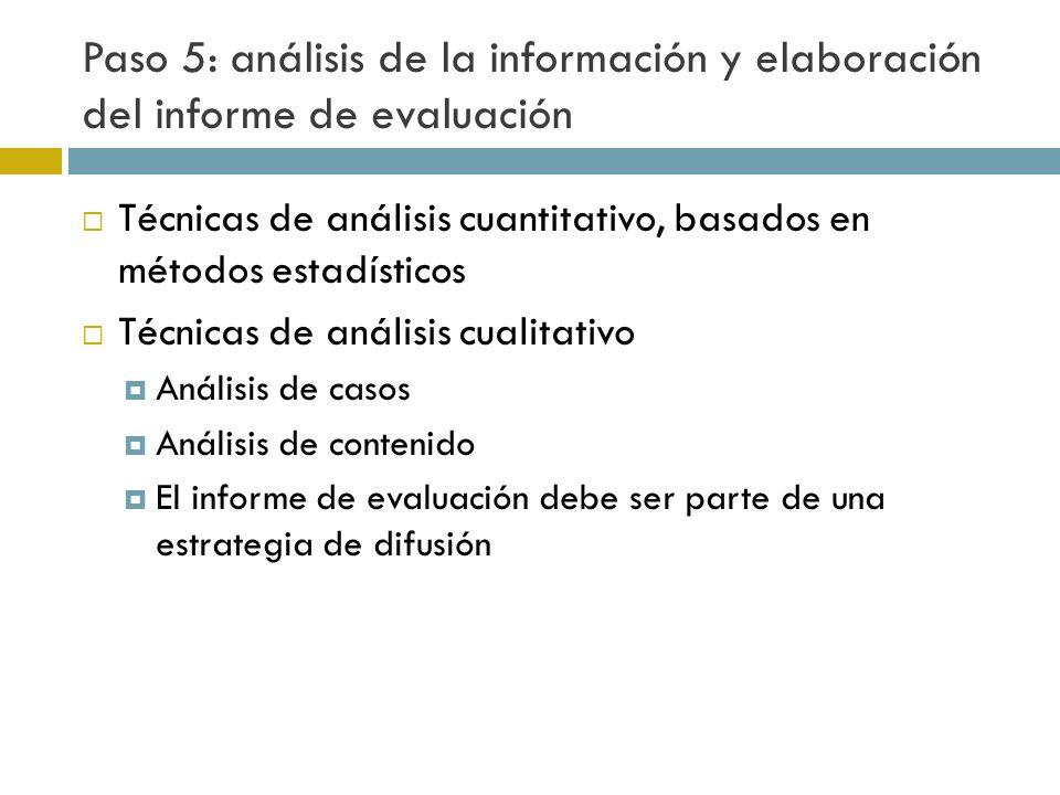 Paso 5: análisis de la información y elaboración del informe de evaluación Técnicas de análisis cuantitativo, basados en métodos estadísticos Técnicas de análisis cualitativo Análisis de casos Análisis de contenido El informe de evaluación debe ser parte de una estrategia de difusión
