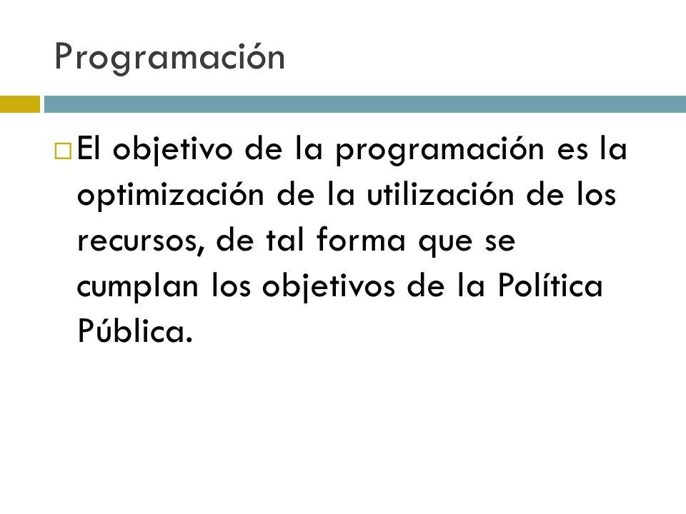 Programación El objetivo de la programación es la optimización de la utilización de los recursos, de tal forma que se cumplan los objetivos de la Política Pública.