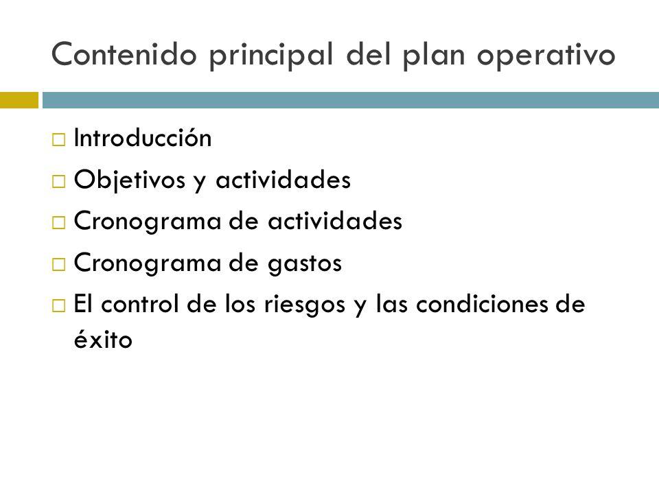 Contenido principal del plan operativo Introducción Objetivos y actividades Cronograma de actividades Cronograma de gastos El control de los riesgos y las condiciones de éxito