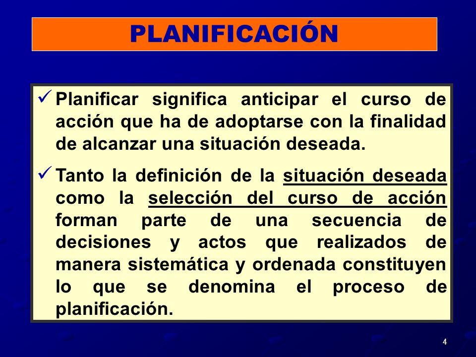 4 Planificar significa anticipar el curso de acción que ha de adoptarse con la finalidad de alcanzar una situación deseada. Tanto la definición de la