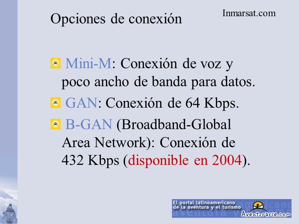 Opciones de conexión Mini-M: Conexión de voz y poco ancho de banda para datos.