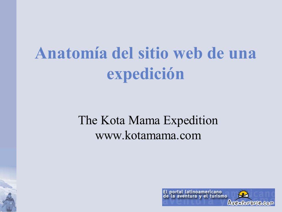 Anatomía del sitio web de una expedición The Kota Mama Expedition www.kotamama.com
