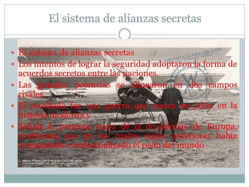 El sistema de alianzas secretas El sistema de alianzas secretas Los intentos de lograr la seguridad adoptaron la forma de acuerdos secretos entre las naciones.