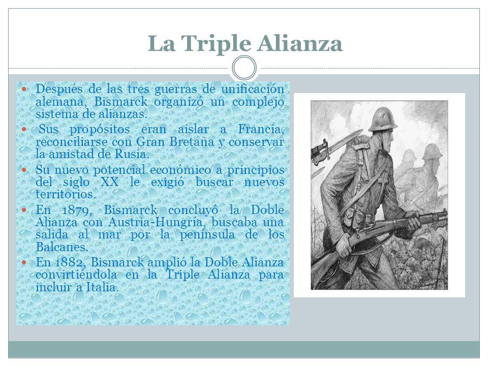 La Triple Alianza Después de las tres guerras de unificación alemana, Bismarck organizó un complejo sistema de alianzas.