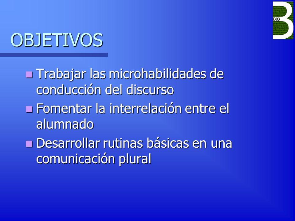 OBJETIVOS Trabajar las microhabilidades de conducción del discurso Trabajar las microhabilidades de conducción del discurso Fomentar la interrelación