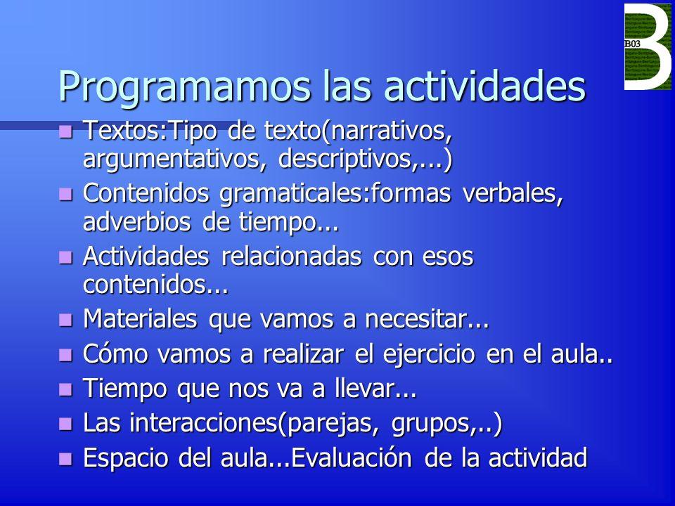Programamos las actividades Textos:Tipo de texto(narrativos, argumentativos, descriptivos,...) Textos:Tipo de texto(narrativos, argumentativos, descri
