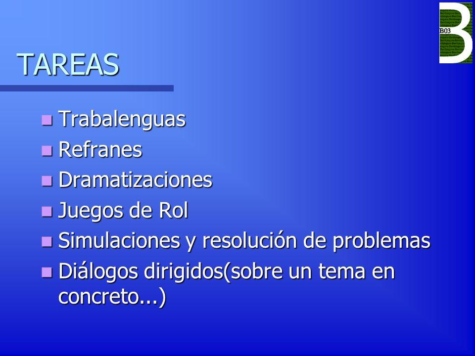 TAREAS Trabalenguas Trabalenguas Refranes Refranes Dramatizaciones Dramatizaciones Juegos de Rol Juegos de Rol Simulaciones y resolución de problemas